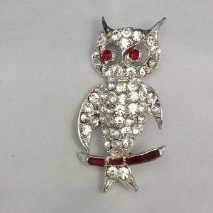 Vintage Silvertone Red Clear Rhinestone Owl Brooch